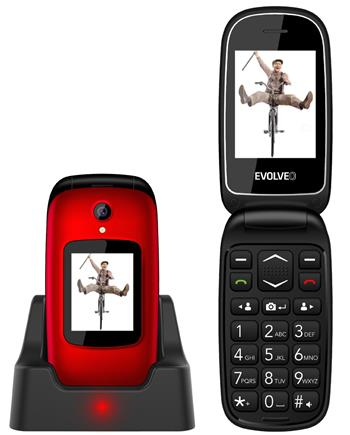 !REFURBISHED! EVOLVEO EasyPhone FD, flip mobile phone for seniors with charging stand (red color)