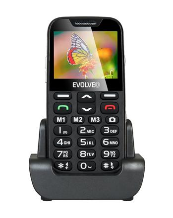 !REFURBISHED! EVOLVEO EasyPhone XD, mobile phone for seniors with charging stand (black colour)