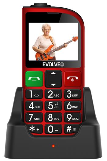 EVOLVEO EasyPhone FM, a mobile phone for senior citizens with a charging stand (red colour)
