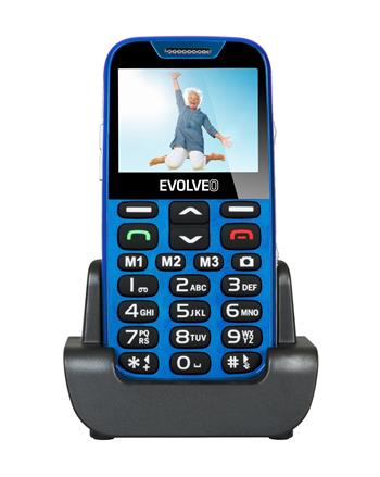 EVOLVEO EasyPhone XD, a mobile phone for seniors with a charging stand, blue