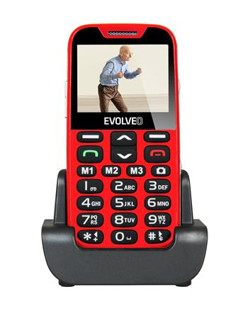 EVOLVEO EasyPhone XD, a mobile phone for seniors with a charging stand, red