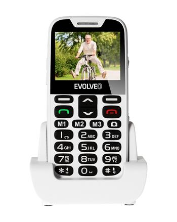 EVOLVEO EasyPhone XD, a mobile phone for seniors with a charging stand, white