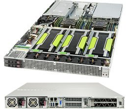 GPU Server 1029GQ-TNRT 1U 2S-P, 4PCI-E16g3 (4GPU), 2×10GbE-T,2NVMe,IPMI, 12DDR4 ,rPS