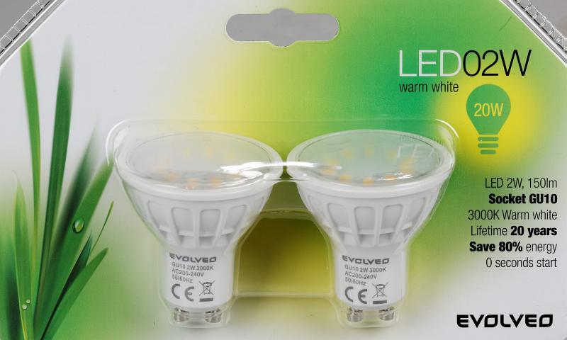 EVOLVEO EcoLight, 2x LED žárovka 2W, patice GU10, blister]