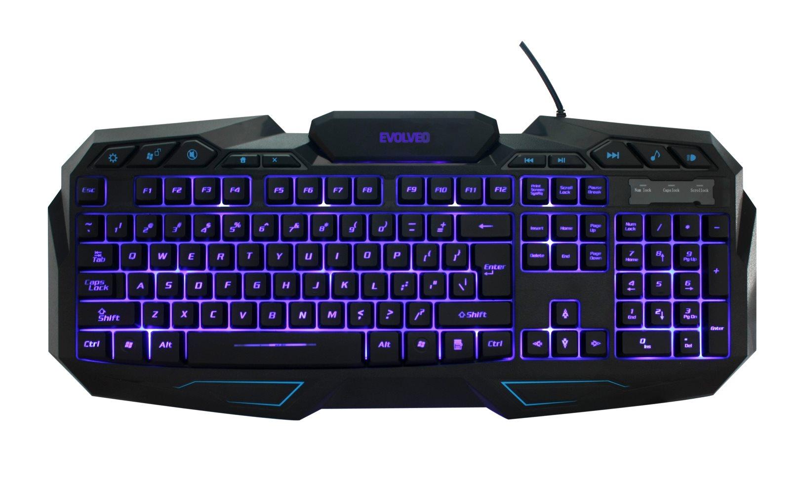 EVOLVEO GK680, herní klávesnice s podsvětlením, USB]
