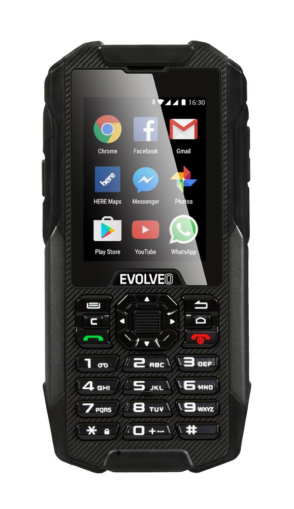 EVOLVEO StrongPhone X4, waterproof and rugged Android smartphone with keypad]