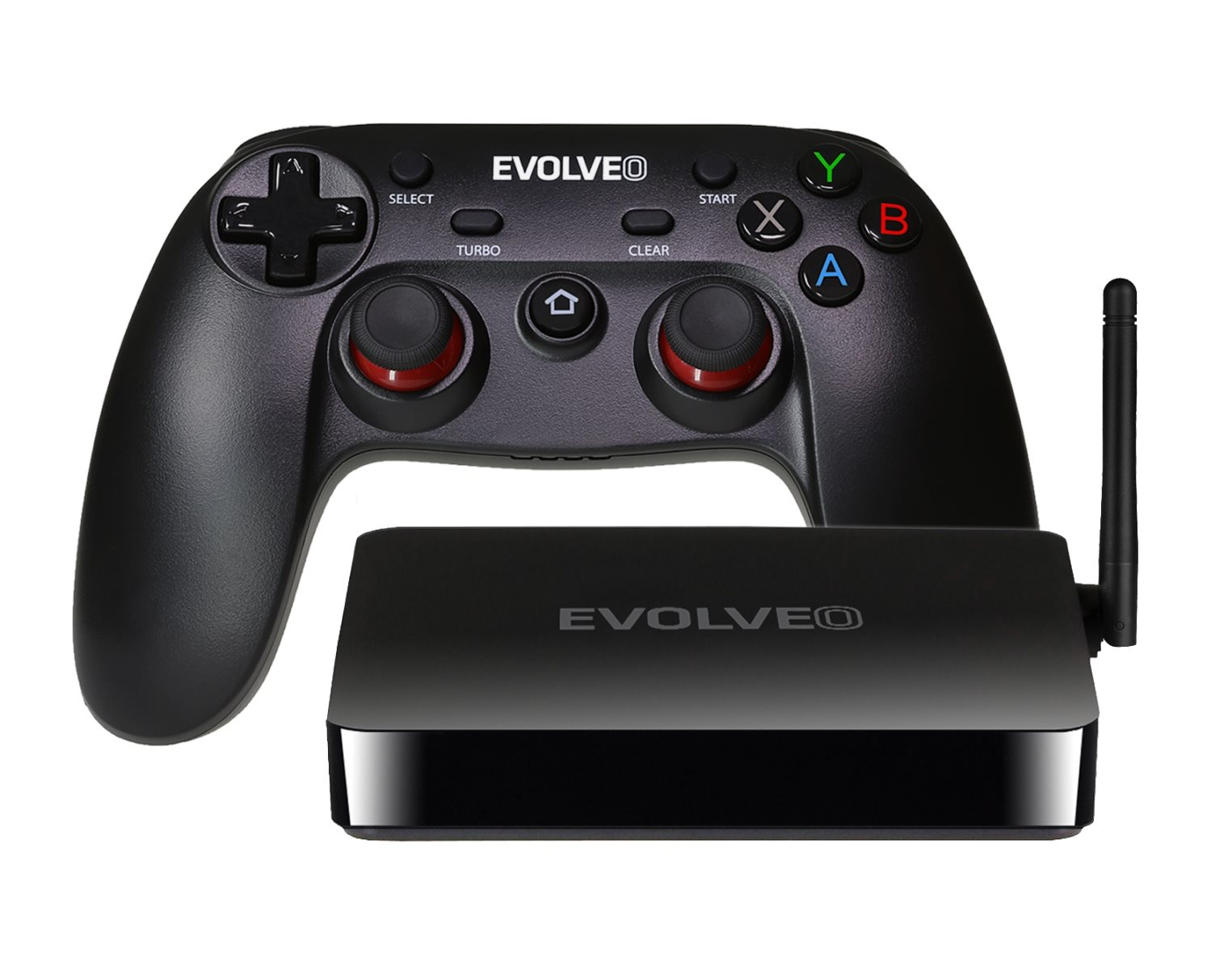 EVOLVEO Android Box H4 Plus, multimedia game center with wireless gamepad]