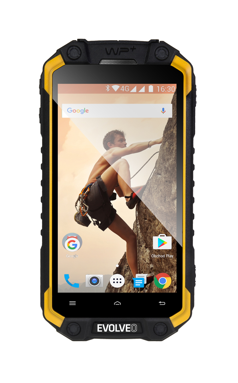 EVOLVEO StrongPhone Q9, waterproof rugged Android Quad Core smartphone]
