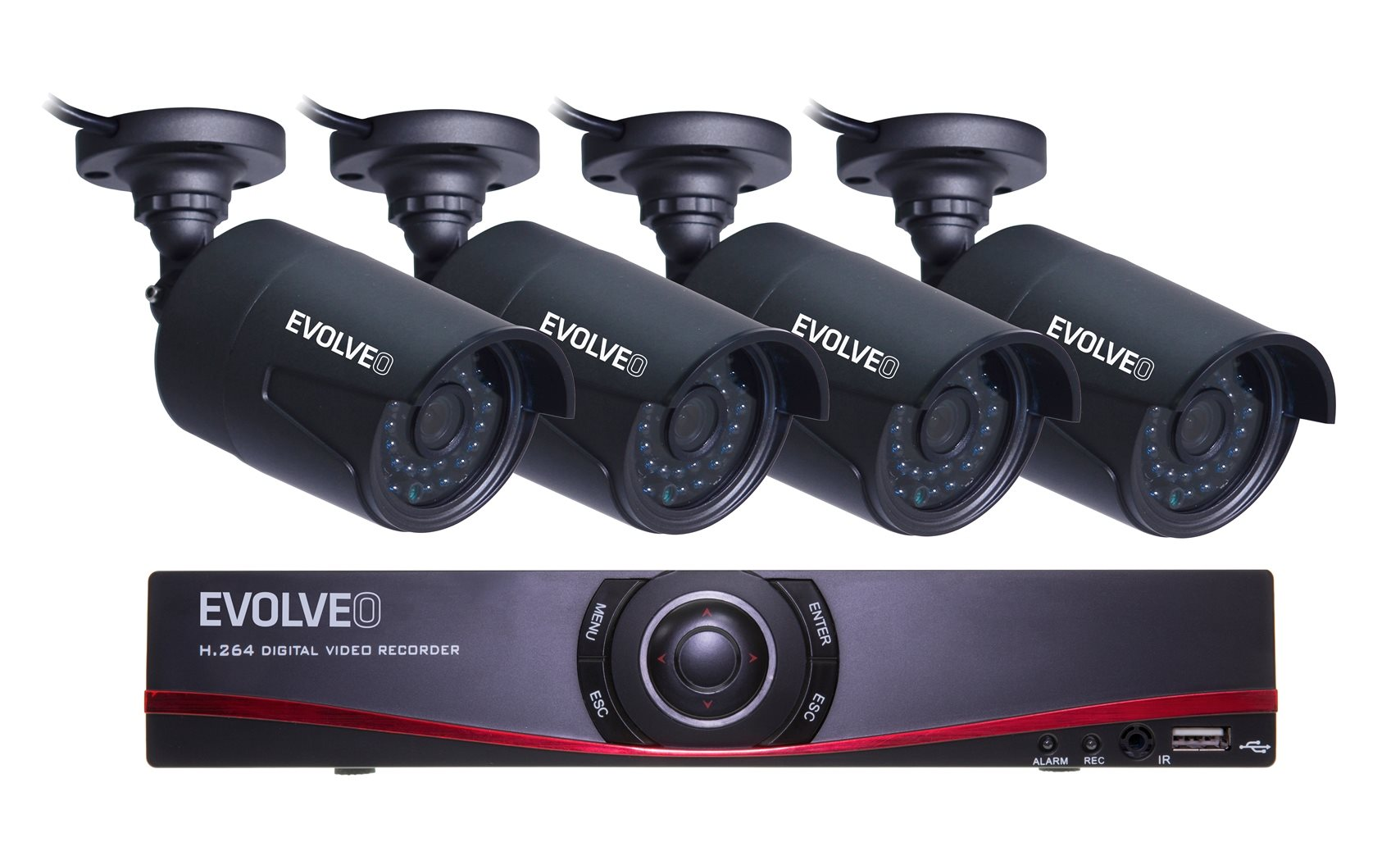 EVOLVEO Detective D04, NVR security monitoring system]