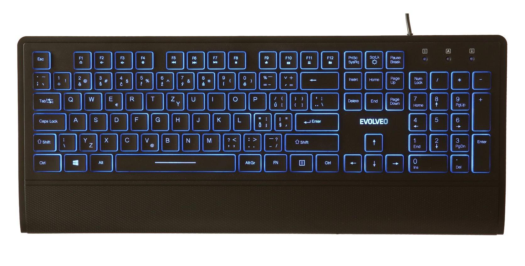 EVOLVEO LK652, klávesnice s podsvětlením, USB]